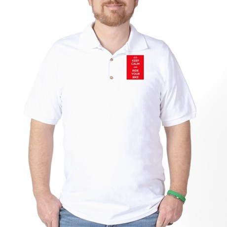 Keep Calm and Ride Your Bike Red Golf Shirt