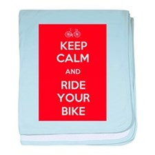 Keep Calm and Ride Your Bike Red baby blanket