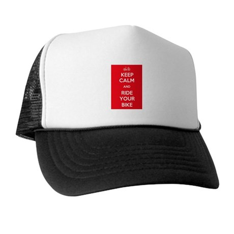 Keep Calm and Ride Your Bike Red Trucker Hat