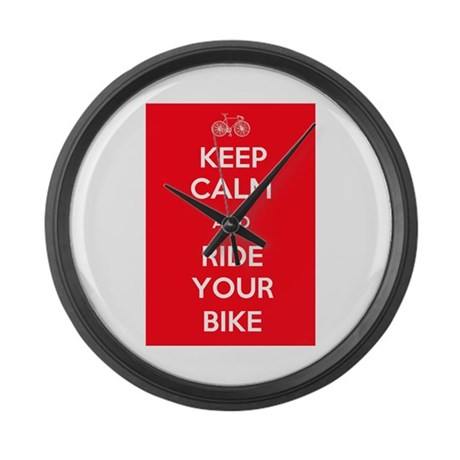 Keep Calm and Ride Your Bike Red Large Wall Clock