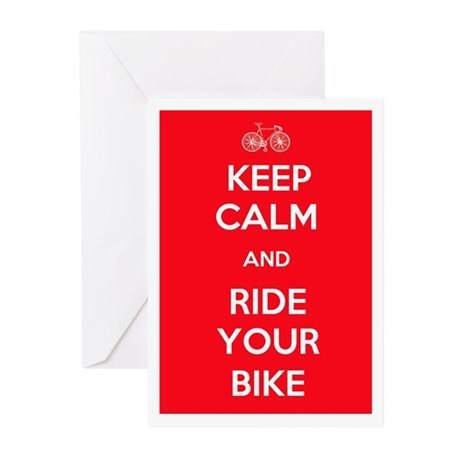 Keep Calm and Ride Your Bike Red Greeting Cards (P