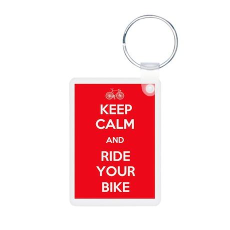 Keep Calm and Ride Your Bike Red Aluminum Photo Ke