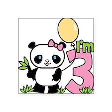 Lil' Panda Girl 3rd Birthday Square Sticker