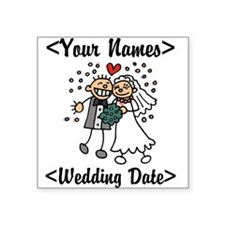 Just Married (Add Names & Wedding Date) Square Sti
