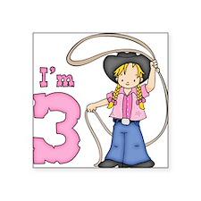 Cowgirl Roper 3rd Birthday Square Sticker
