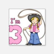 Cowgirl Roper 3rd Birthday Square Sticker