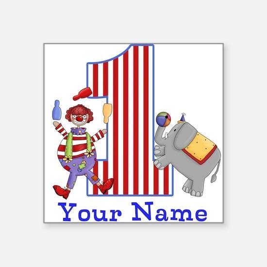 First Birthday Circus Square Sticker