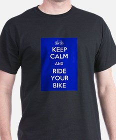 Keep Calm and Ride Your Bike Blue T-Shirt