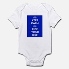 Keep Calm and Ride Your Bike Blue Infant Bodysuit