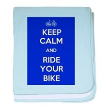 Keep Calm and Ride Your Bike Blue baby blanket