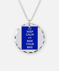 Keep Calm and Ride Your Bike Blue Necklace