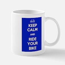 Keep Calm and Ride Your Bike Blue Mug