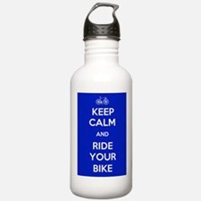 Keep Calm and Ride Your Bike Blue Water Bottle