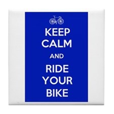 Keep Calm and Ride Your Bike Blue Tile Coaster