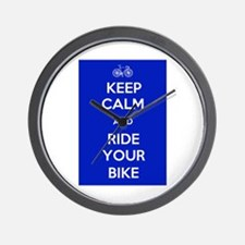 Keep Calm and Ride Your Bike Blue Wall Clock