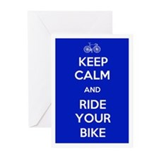 Keep Calm and Ride Your Bike Blue Greeting Cards (