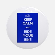 Keep Calm and Ride Your Bike Blue Ornament (Round)