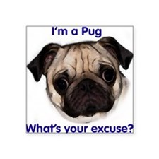 """I'm a Pug - what's your excu Square Sticker"