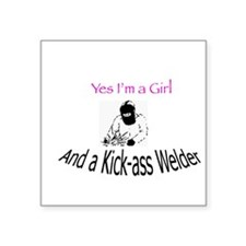 Welder Girl Square Sticker