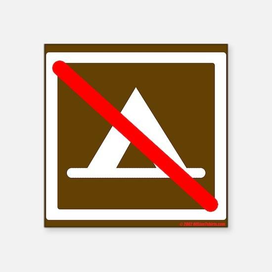 No Camping Square Sticker