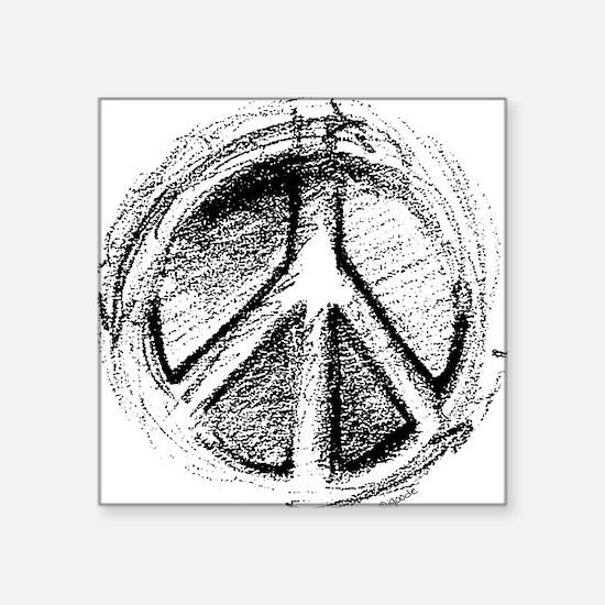 Urban Peace Sign Sketch Square Sticker