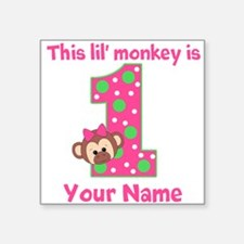 1st Birthday Monkey Girl Square Sticker