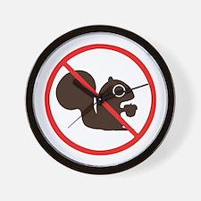 No Squirrels Wall Clock