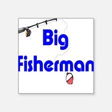 Square Sticker - Big Fisherman (blue)