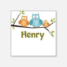 Custom Baby Name Owls Square Sticker
