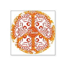 Orange Funky Peace Sign Square Sticker