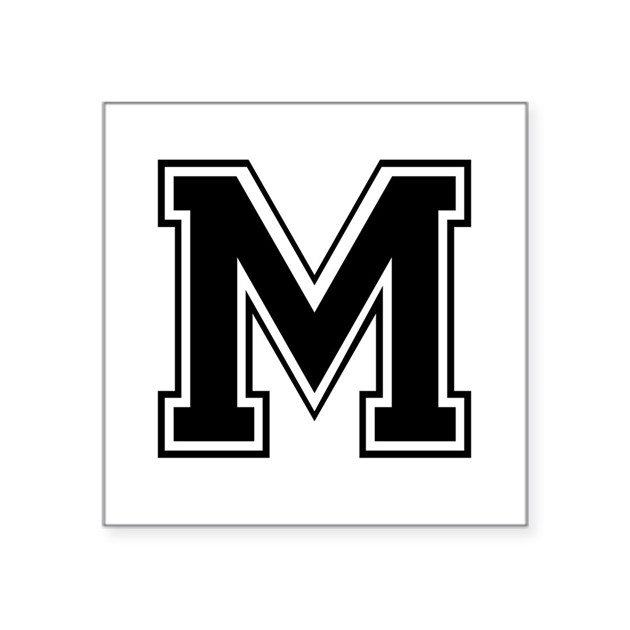 Varsity Letter M Square Sticker By Admin Cp2574929