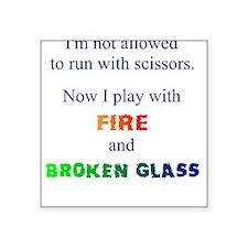 Fire and Broken Glass Men's Square Sticker
