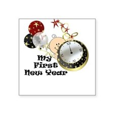 New Year Baby Watch Square Sticker