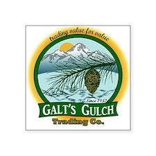 Galt's Gulch Green/Gold Square Sticker