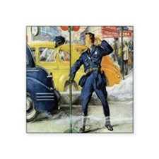 Vintage Traffic Cop Square Sticker