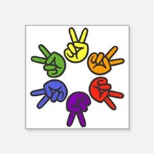 Peace Sign Fingers Square Sticker
