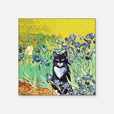 Irises & Cat Square Sticker