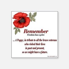 Remember Poppy Square Sticker