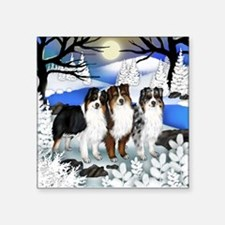 AUSTRALIAN SHEPHERD DOGS WINTER Square Sticker