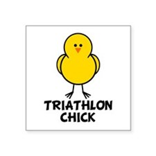Triathlon Chick Square Sticker
