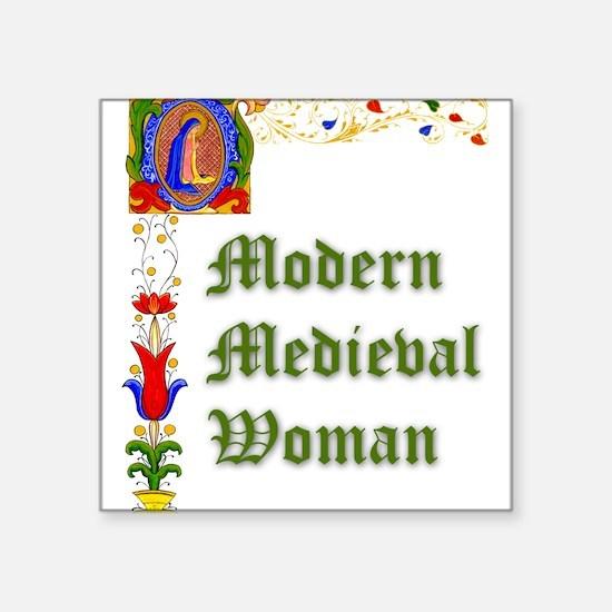 Modern Medieval Woman Square Sticker
