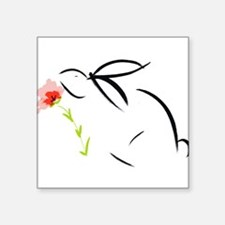 bunny & flower Square Sticker