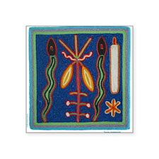 Huichol Art: 'Twin Serpents' Men's Square Sticker