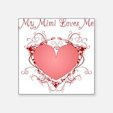 My Mimi Loves Me Heart Square Sticker
