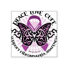 Fibromyalgia Butterfly Tribal Square Sticker