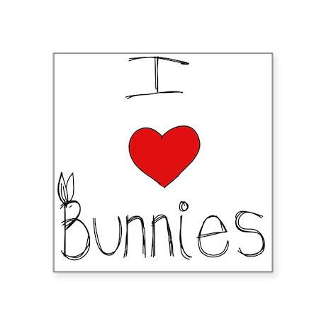 I Heart Bunnies Square Sticker