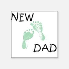 New Dad GREEN Square Sticker