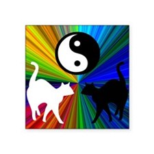 YIN YANG RAINBOW CATS Square Sticker