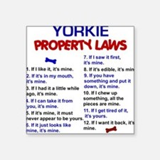 Yorkie Property Laws 3 Square Sticker