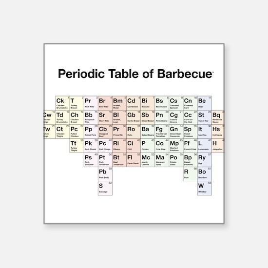 Periodic Table of Barbecue Square Sticker